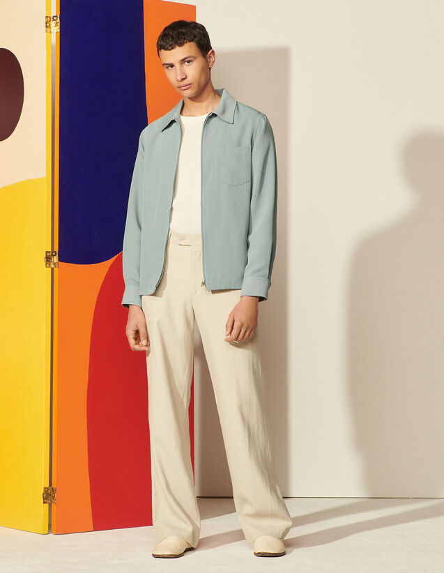 Flowing Zip-Up Overshirt : Coats & Jackets color Storm
