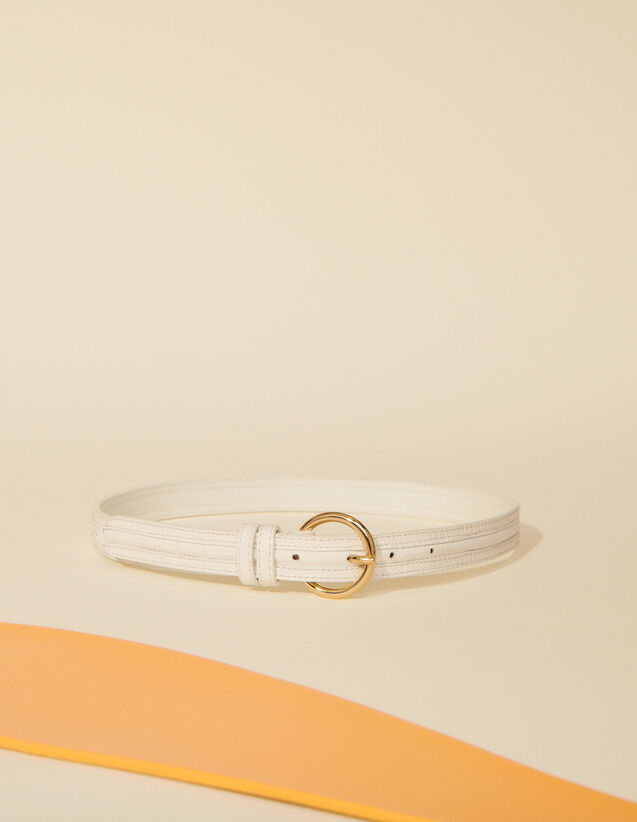 Thin Crocodile Embossed Belt : Belts color white