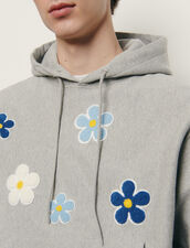 Hoodie With Embroidered Patch : Sweatshirts color Mocked Grey
