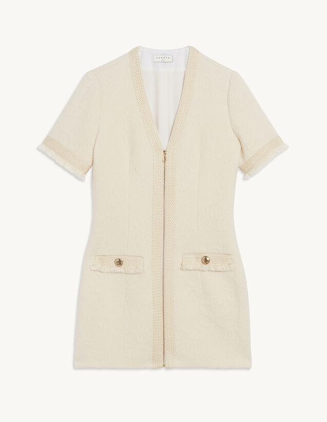 Tweed Dress In Double S Jacquard : Dresses color Ecru