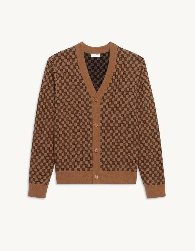 Jacquard Knit Cardigan : Sweaters & Cardigans color Camel