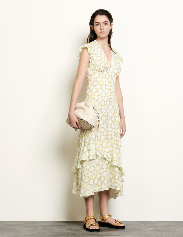 Long Dress In Printed Jacquard : Dresses color Ivory