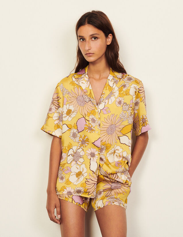 Printed Pyjama Shirt : Shirts color Yellow / Lilac