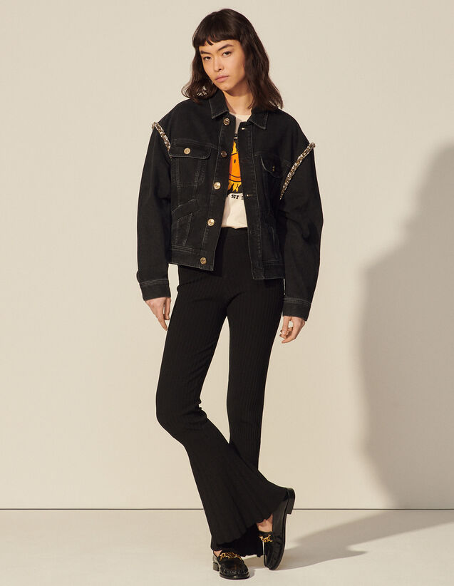 Faded Denim Jacket With Rhinestones : Spring Summer Collection color Black