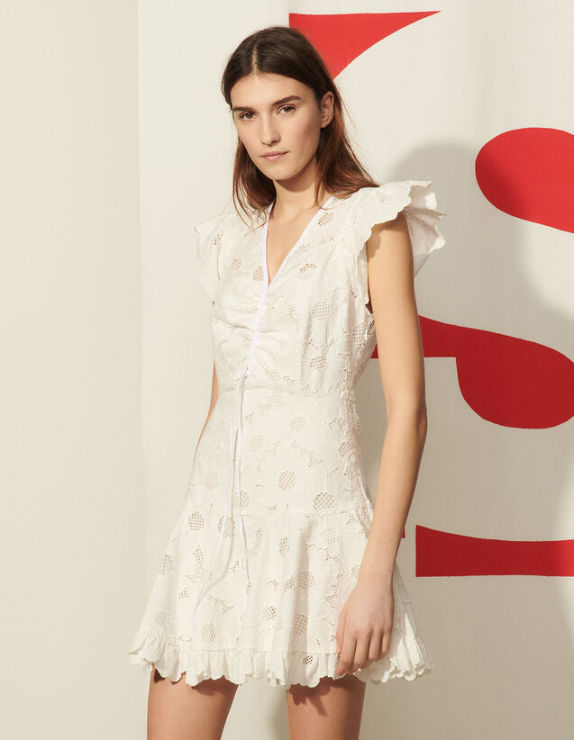 Short Lace Dress With Embroidery : Dresses color white
