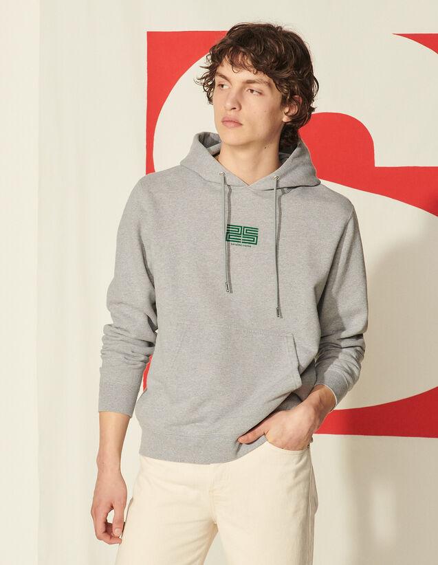 Organic Cotton Flocked Hoodie : Sweatshirts color Mocked Grey