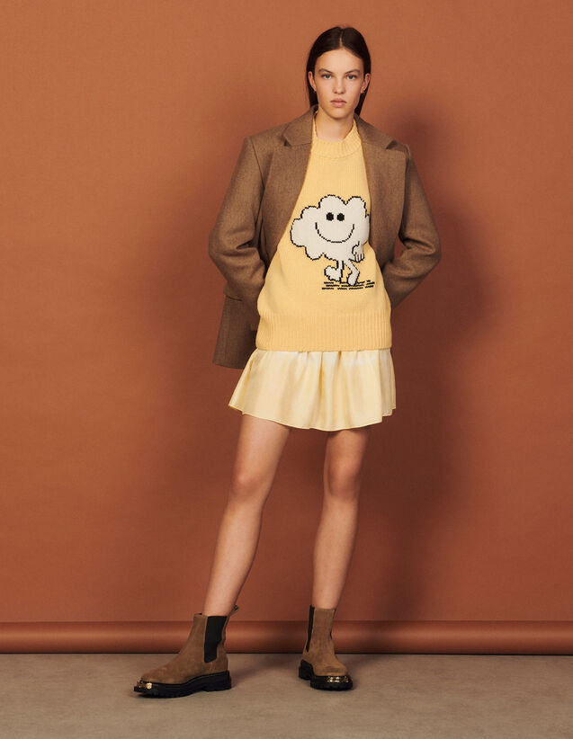 Wool And Cashmere Sweater : Sweaters & Cardigans color Light Yellow