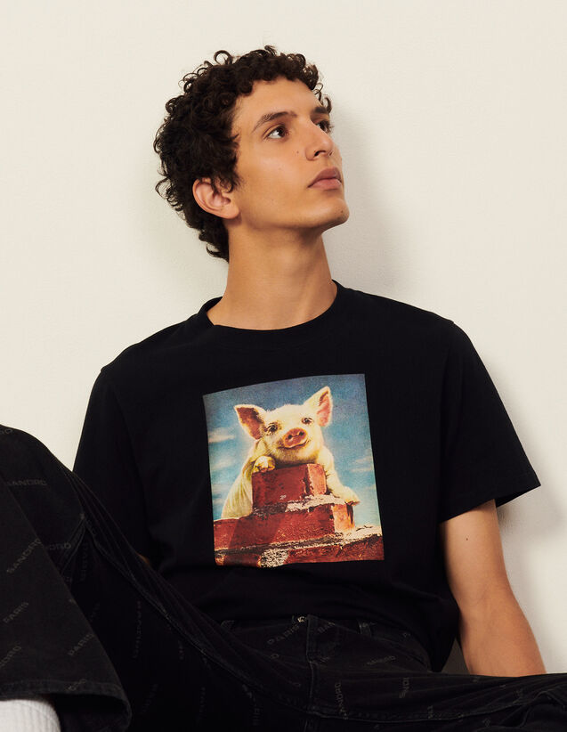 Cotton T-Shirt With Imagery : T-shirts & Polo shirts color Black