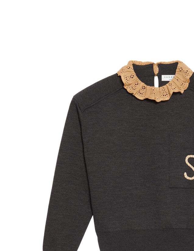 Sweater With Contrasting Ruffled Collar : Sweaters & Cardigans color Dark Grey
