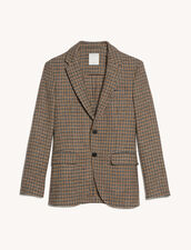 Houndstooth Blazer : Suits & Tuxedos color Brown