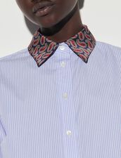 Striped Shirt With Printed Collar : Shirts color Sky Blue