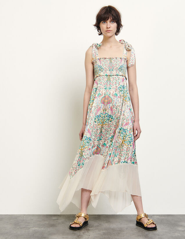 Long Pleated Print Dress : Dresses color Ivory