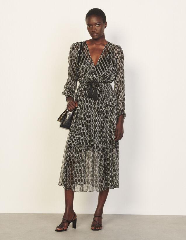 Long Printed Silk Dress : Dresses color Black / White