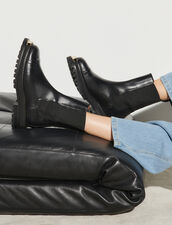 Ankle Boots With Notched Sole : Boots color Black