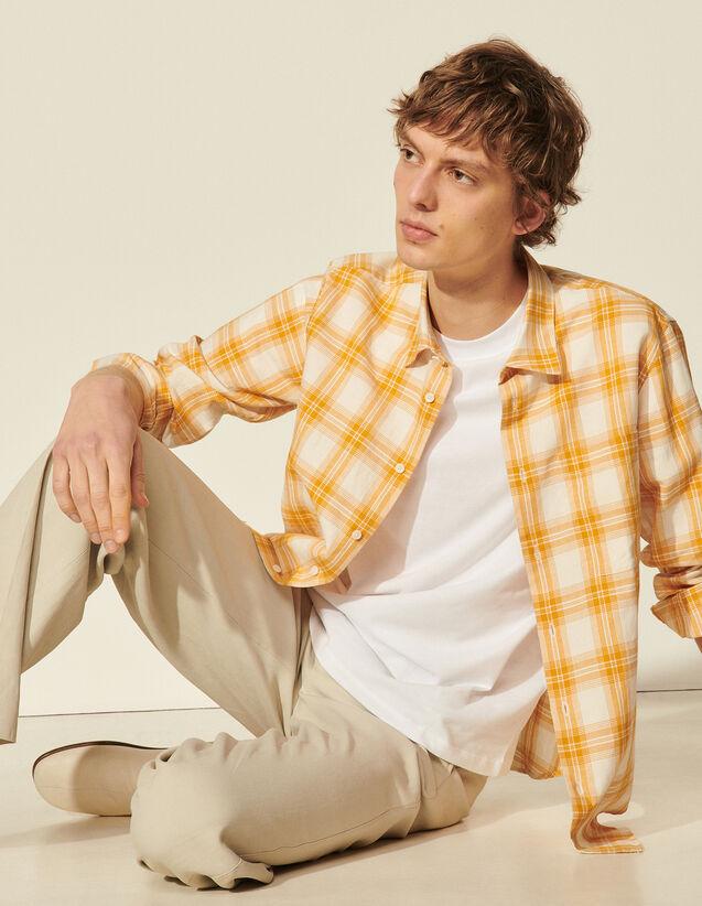 Checked Cotton Shirt : Shirts color Yellow