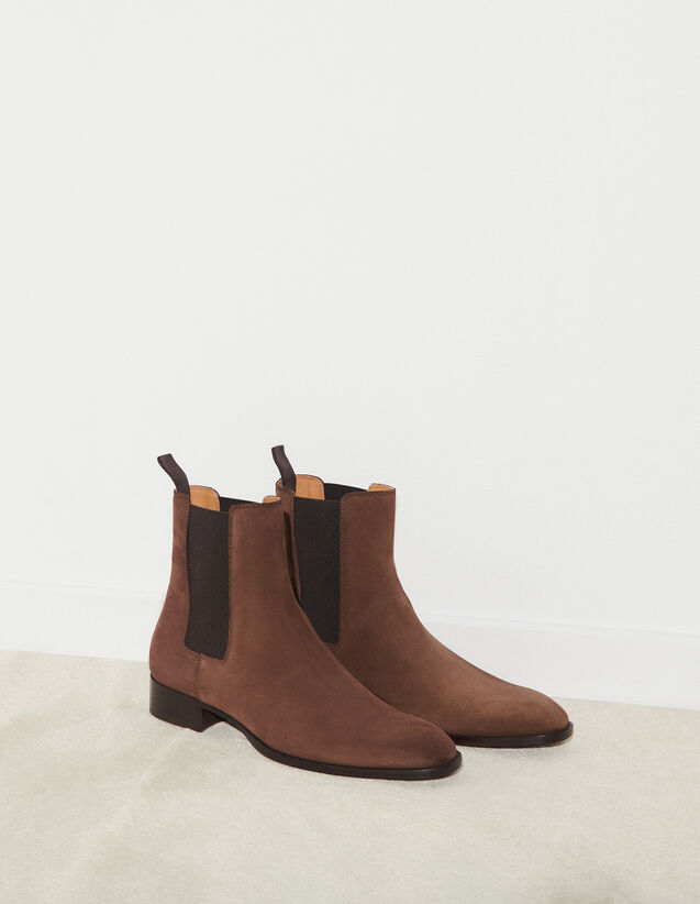 Suede Chelsea Boots : Shoes color Chocolate