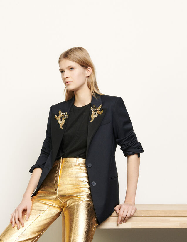 Tailored Jacket With Jewelled Patches : Blazer & Jacket color Navy Blue