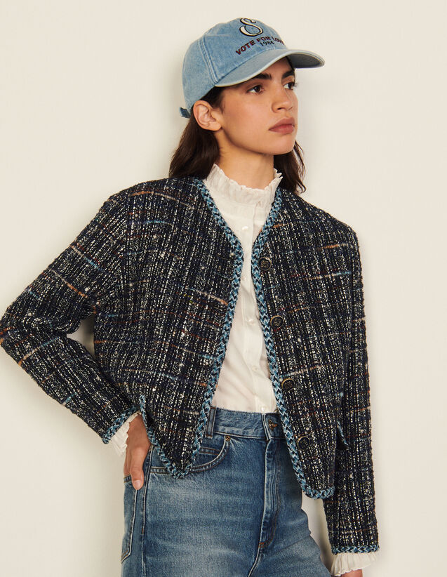Short Tweed Tailored Jacket : Blazers & Jackets color Deep blu