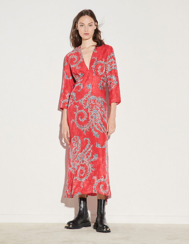 Printed Midi Dress : Dresses color Red