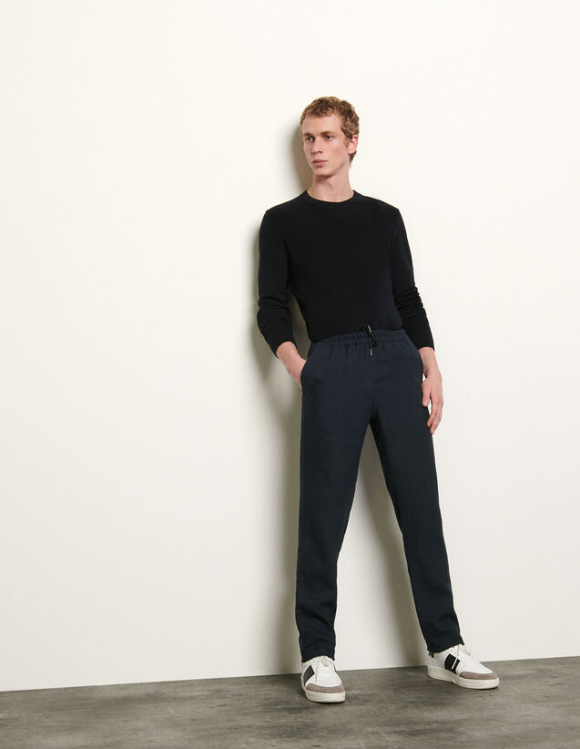 Straight-Leg Linen Trousers : Pants & Shorts color Navy Blue