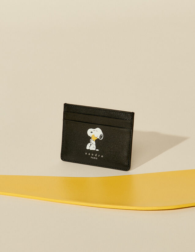 Smooth Leather Snoopy Card Holder : Leather Goods color Black