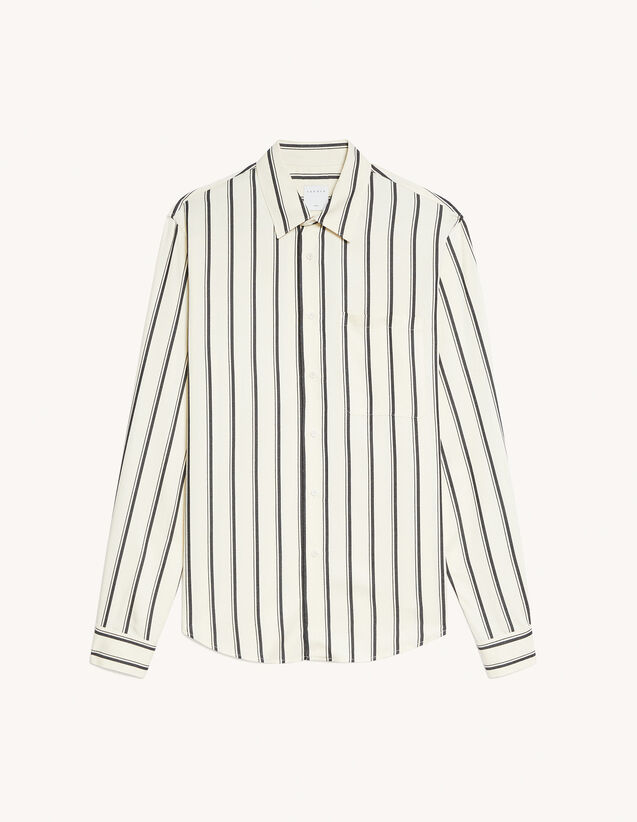 Striped Viscose Shirt : Shirts color Ecru