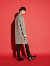 Long Wool Coat : Trench coats & Coats color Black/off white