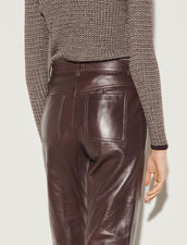 Leather Trousers : Pants color Brown