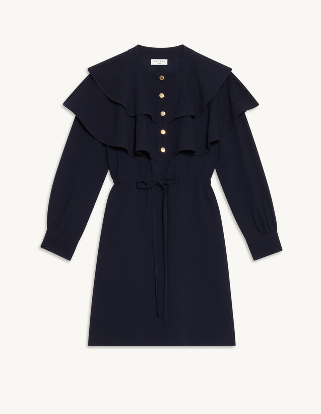 Dress With Oversize Ruffles : Dresses color Navy Blue