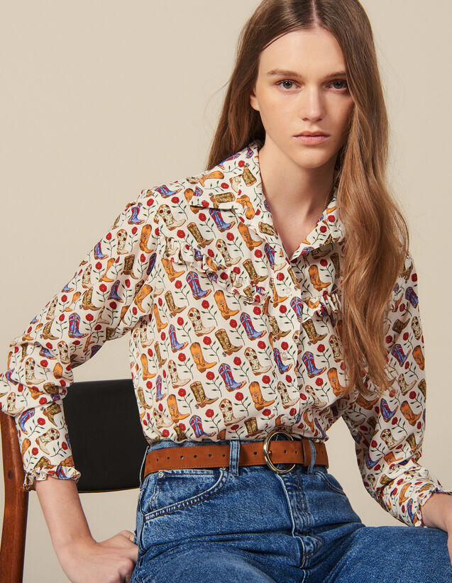 Printed Ruffled Shirt : Shirts color Ecru