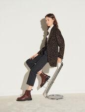 Leopard Print Coat : Coats color Black Brown
