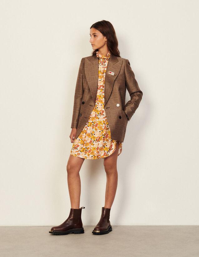 Short Printed Dress : Dresses color Ecru