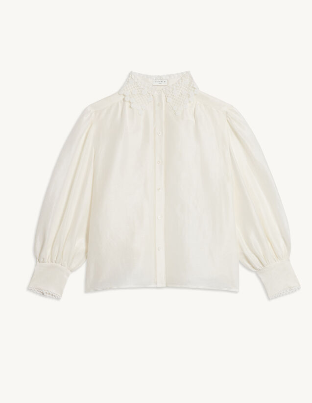Shirt With Lace Collar : Spring Summer Collection color Ecru