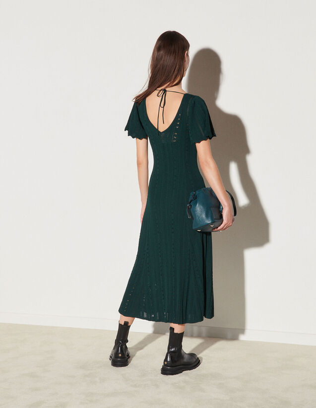 Long Knit Dress : Dresses color Bottle Green