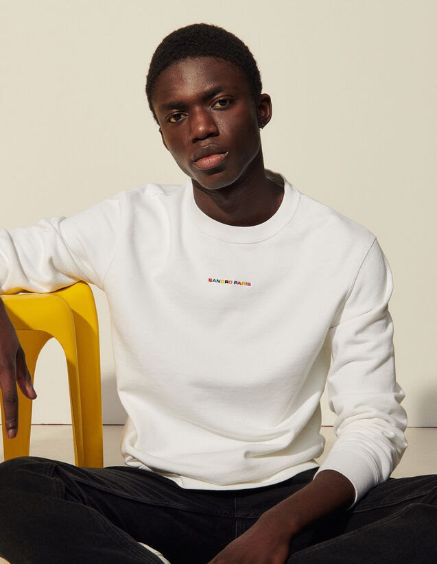Sweatshirt With Multicoloured Embroidery : Sweatshirts color white