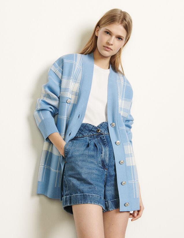 Oversized Checked Cardigan : Sweaters & Cardigans color Blue sky