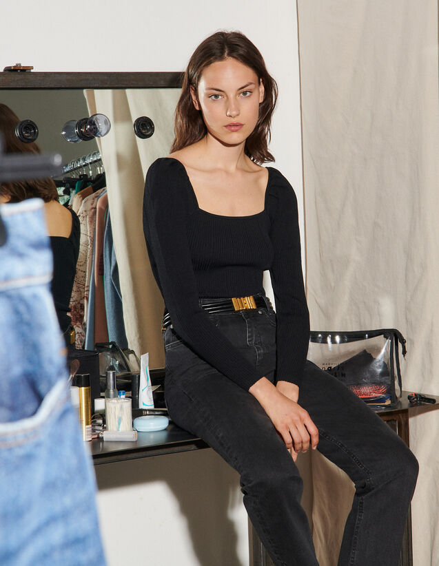 Ribbed Sweater With Square Neckline : Sweaters & Cardigans color Black