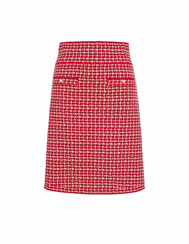 Short Skirt In Fancy Tweed : Skirts & Shorts color Red