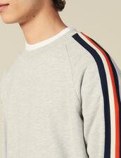 Sweatshirt With Stripes On The Sleeves : Sweatshirts color Mocked Grey