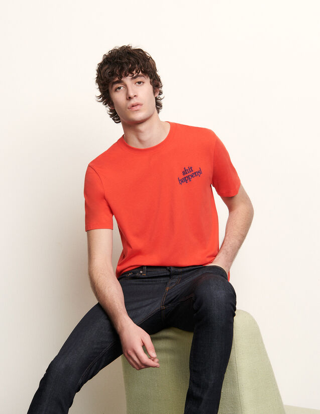 Cotton T-Shirt With Lettering : T-shirts & Polo shirts color Red