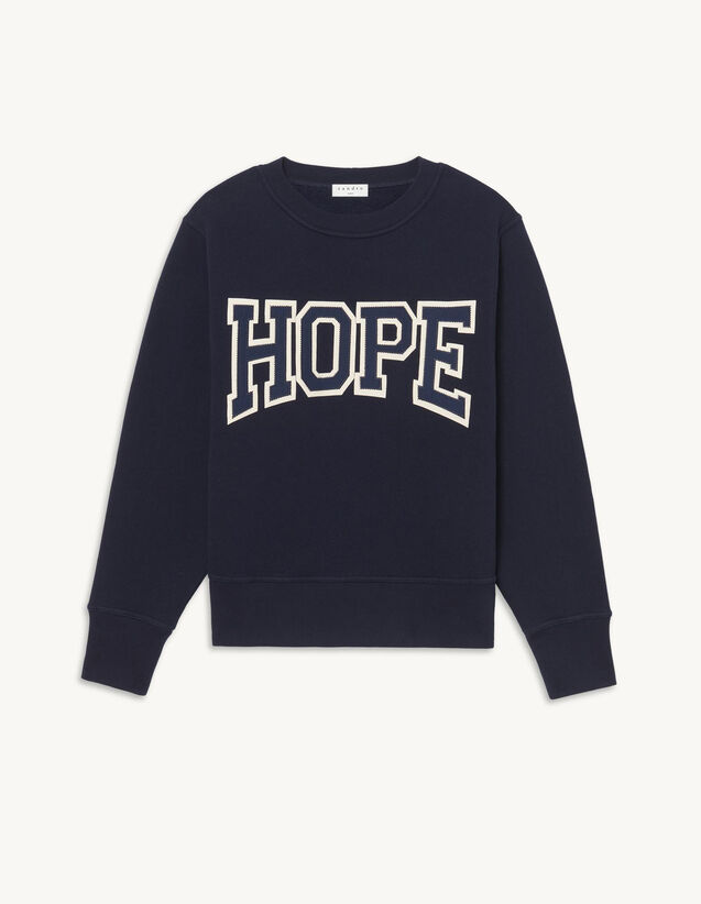 Organic Cotton Sweatshirt With Lettering : Tops color Navy Blue