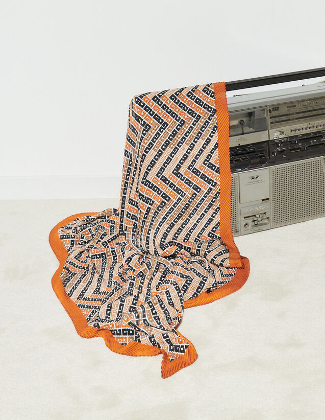 Pleated Scarf With All-Over Print : Other accessories color Blanc / Marron