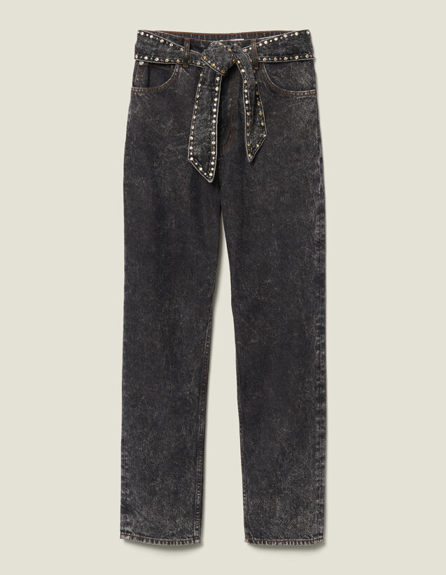 Snow Jeans With Studded Belt : Jeans color Black