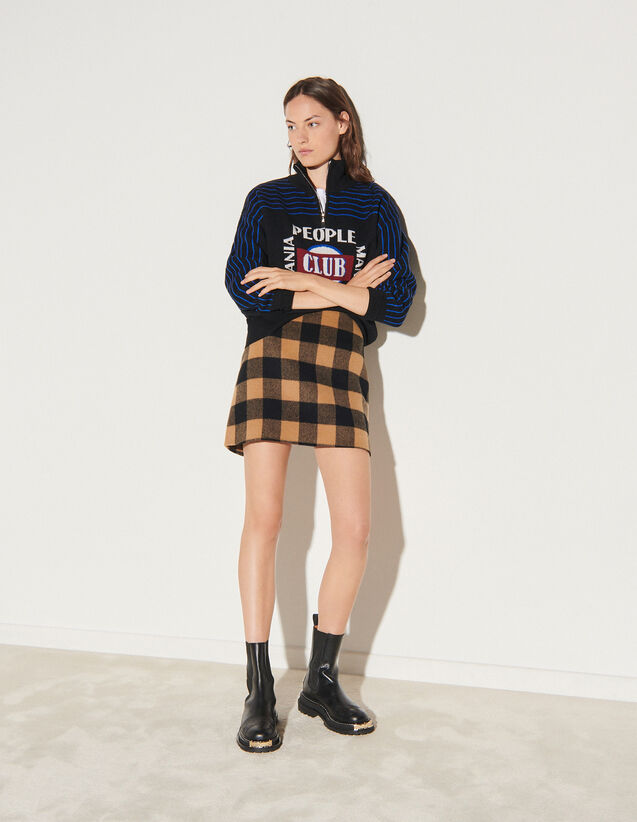 Short Checked Wool Skirt : Skirts & Shorts color Camel / Black
