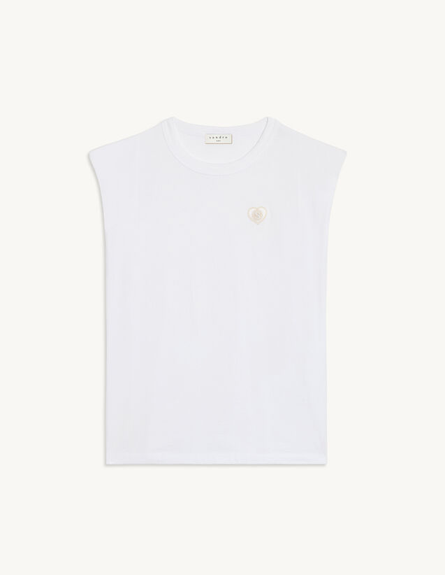 Sleeveless T-Shirt With Patch : T-shirts color white