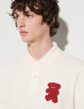 Polo Shirt With Bear Patch : T-shirts & Polo shirts color Ecru