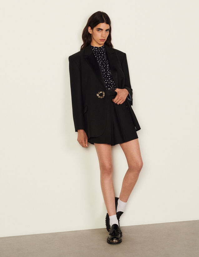 Jacket With Tailored Collar And Jewel : Blazers & Jackets color Black