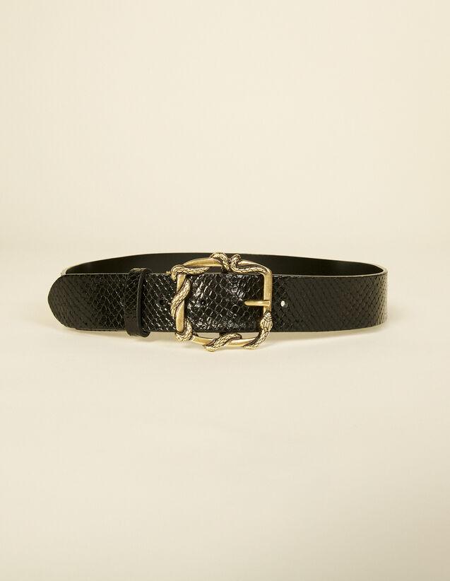 Python Belt With Decorative Buckle : Belts color Brown