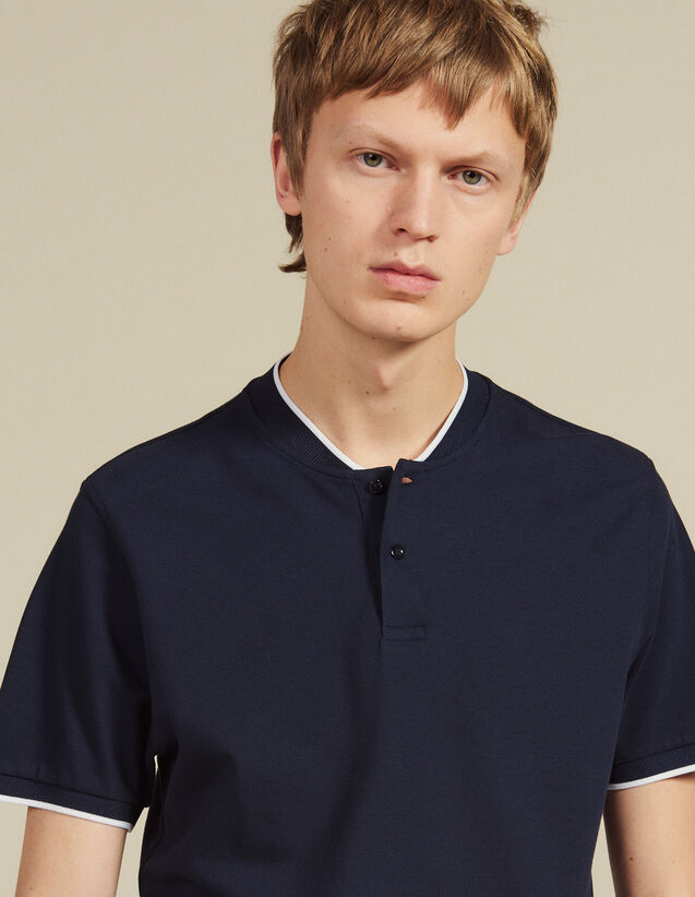 Polo Shirt With Contrasting Collar : T-shirts & Polo shirts color white