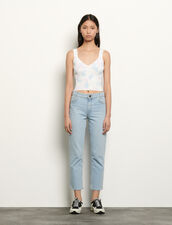 Stretch Jeans With 5 Pockets : Jeans color Bleached - Denim